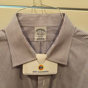 Brooks Brothers open collar striped dress shirt.